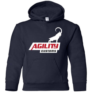 Agility Customs white logo G185B Gildan Youth Pullover Hoodie