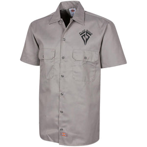 Flop Shop black embroidered logo 1574 Dickies Men's Short Sleeve Workshirt