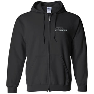 XJ Jeeps silver embroidered logo G186 Gildan Zip Up Hooded Sweatshirt