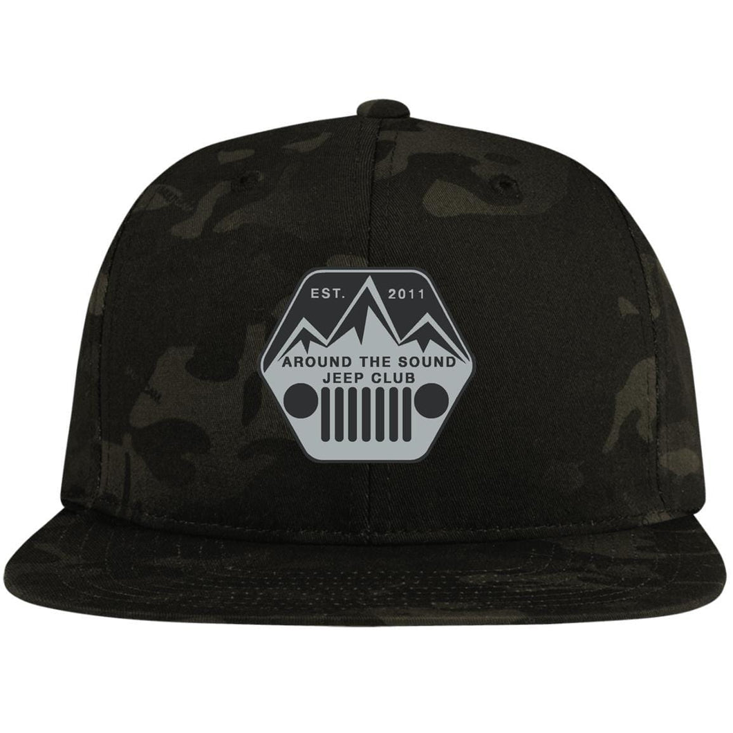 ASJC silver & black embroidered logo STC19 Sport-Tek Flat Bill High-Profile Snapback Hat