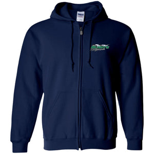 Hundt's Motorsports silver embroidered G186 Gildan Zip Up Hooded Sweatshirt