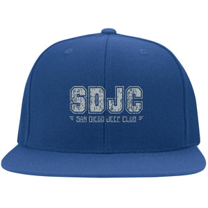SDJC silver embroidered logo 6297F Fullback Flat Bill Twill Flexfit Cap