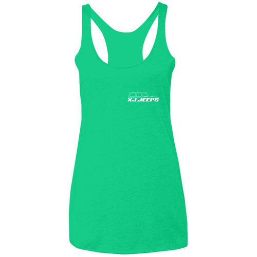 XJ Jeeps 2-sided print NL6733 Next Level Ladies' Triblend Racerback Tank