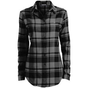 E-Mortal silver embroidered logo LW668 Port Authority Ladies' Plaid Flannel Tunic