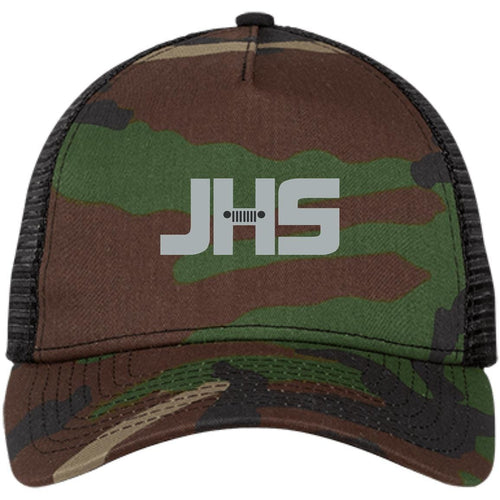 JHS silver embroidered logo NE205 New Era® Snapback Trucker Cap