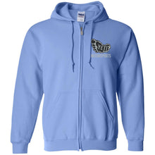 Yeti silver embroidered logo G186 Gildan Zip Up Hooded Sweatshirt