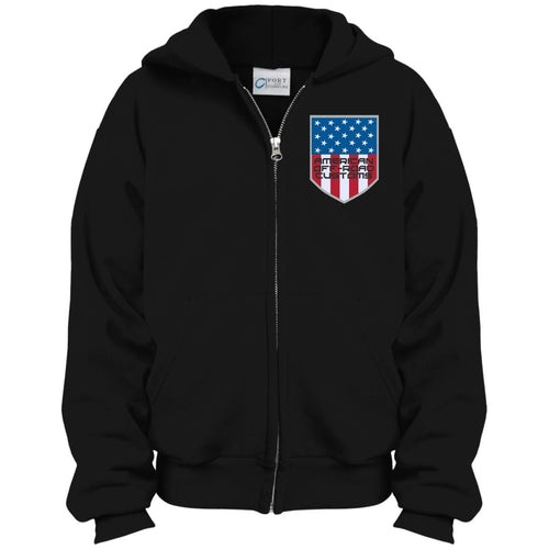 American Off-Road embroidered logo PC90YZH Port & Co. Youth Full Zip Hoodie