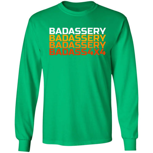 John's 4x4 BADASSERY 2-sided print G240 Gildan LS Ultra Cotton T-Shirt