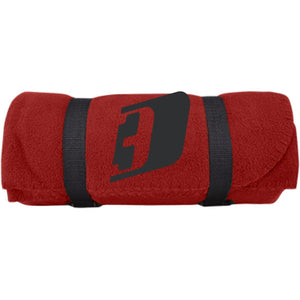 D3 black embroidered BP10 Port & Co. Fleece Blanket