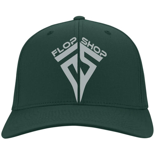Flop Shop silver embroidered logo C813 Port Authority Fullback Flex Fit Twill Baseball Cap