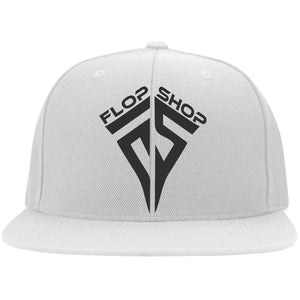 Flop Shop black embroidered logo 6297F Fullback Flat Bill Twill Flexfit Cap