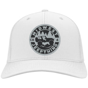MWJT silver & black embroidered logo C813 Port Authority Fullback Flex Fit Twill Baseball Cap