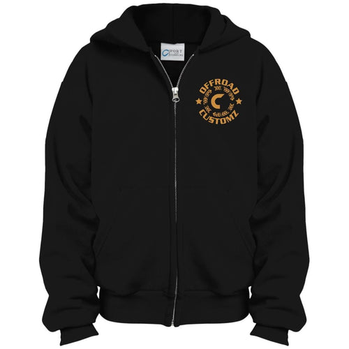 Offroad Customz gold embroidered logo PC90YZH Port & Co. Youth Full Zip Hoodie