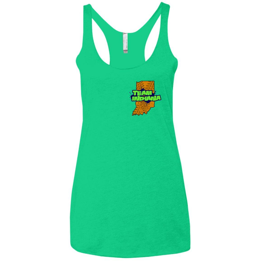 BB&M Team Indiana front 2-sided print NL6733 Next Level Ladies' Triblend Racerback Tank
