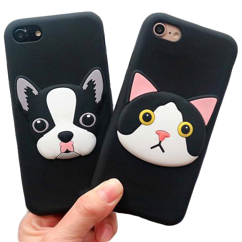 Cool French Bull and Cat Silicon Phone Case