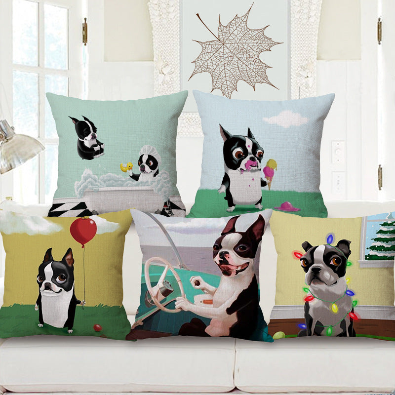 Cute Boston Terrier Cotton Cushion Cover