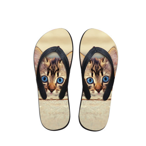 Cute Kitten Summer Beach Flip Flops