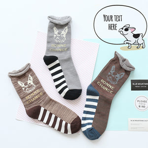 Women Short Socks with French Bull design