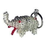 Clear Elephant Keychain Handmade Tiny Beads Keys Animal Ethiopian Abyssinian Kiosk