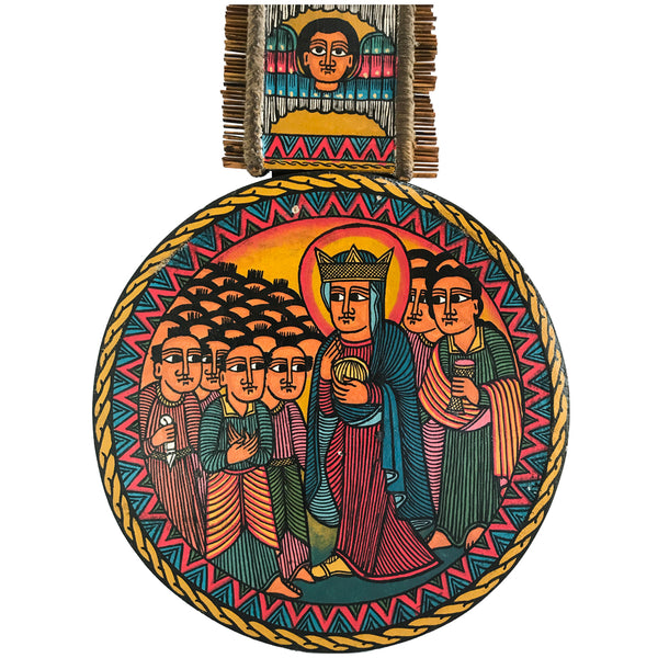 The Virgin Mary and Baby Jesus Painted on Wood Hand Carved Wooden Art Piece with Paintings Handmade Ethiopian Coptic Orthodox African Abyssinian Kiosk Christian Virgin Mary Jesus
