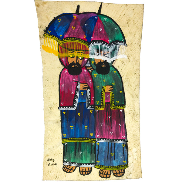 2 Ethiopian Priests Painting Ethiopia Colorful Religious Poster Handmade African Ethiopian Art Abyssinian Kiosk