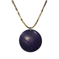 Purple Wood Disc Necklace Handmade Wooden Purple Brass Oromo Beads Ethiopia Ethiopian African Abyssinian Kiosk