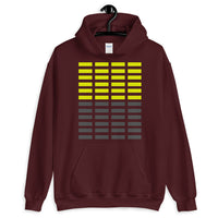 Dark Yellow & Grey Grid Bars Unisex Hoodie Abyssinian Kiosk Rectangle Bars Spaced Evenly Grid Pattern Fashion Cotton Apparel Clothing Gildan Original Art