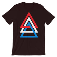 3 Triangles RWB Unisex T-Shirt Abyssinian Kiosk Red White Blue America Fashion Cotton Apparel Clothing Bella Canvas Original Art