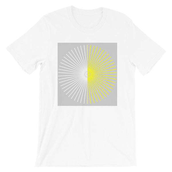 Half Blank Half Yellow Cube Spokes Grey BG Unisex T-Shirt Abyssinian Kiosk Squares Bicycle Spokes Background Fashion Cotton Apparel Clothing Bella Canvas Original Art