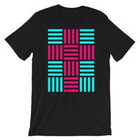 4 Lines Pink Cross Cyan Unisex T-Shirt Abyssinian Kiosk Christian Bella Canvas Original Art Fashion Cotton Apparel Clothing