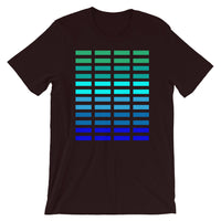 Green to Blue Grid Bars Unisex T-Shirt Abyssinian Kiosk Rectangle Bars Spaced Evenly Grid Pattern Fashion Cotton Apparel Clothing Bella Canvas Original Art