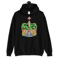 Funky Crown Green Unisex Hoodie Abyssinian Kiosk Empress Menen Crown Haile Selassie Colors African Royal Royalty Fashion Cotton Apparel Clothing Gildan Original Art