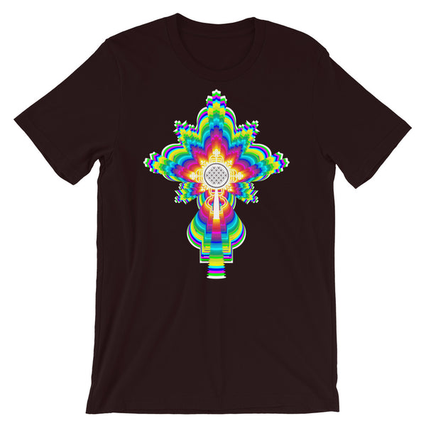 Psychedelic White #10 Cross Unisex T-Shirt Trip Trippy Colorful Ethiopian Coptic Orthodox Abyssinian Kiosk Christian Bella Canvas Original Art Abyssinian Kiosk Fashion Cotton Apparel Clothing