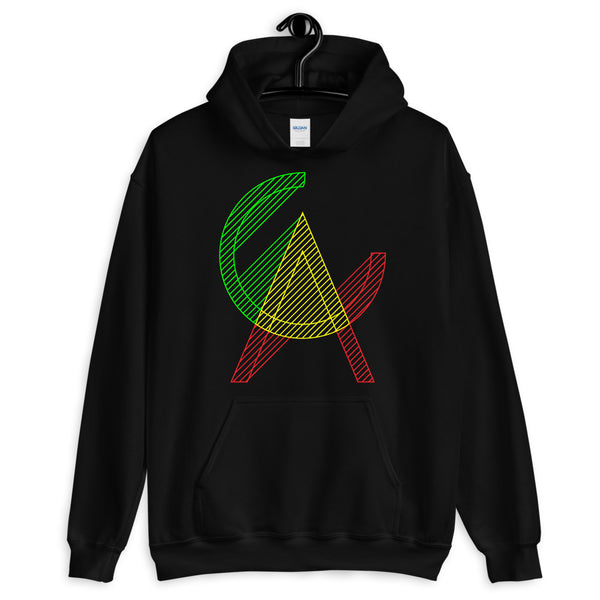 Connected GYR CA Unisex Hoodie California State America US Gildan Original Art Abyssinian Kiosk Fashion Cotton Apparel Clothing Green Yellow Red