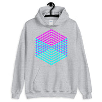 Cyan Magenta Cube Illusion Unisex Hoodie Abyssinian Kiosk 3D Bars Polygon Fashion Cotton Apparel Clothing Gildan Original Art