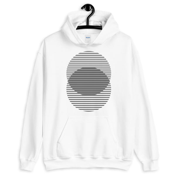 Grey Lined Circles Unisex Hoodie Abyssinian Kiosk Joining Circles Fashion Cotton Apparel Clothing Gildan Original Art