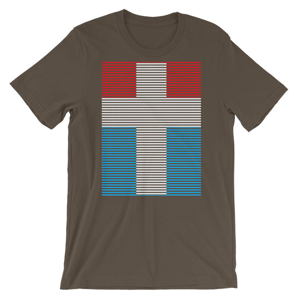 White Cross Red Blue Lines Unisex T-Shirt Abyssinian Kiosk Christian Jesus Religion Lined Latin Cross Bella Canvas Original Art Fashion Cotton Apparel Clothing