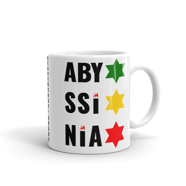 Abyssinia Black Letters Stars of David Coffee Mug Ethiopian Lion of Judah Abyssinian Kiosk Abyssinia Ethiopia Flag