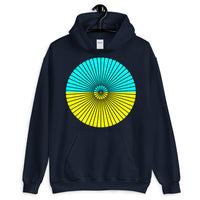 Black Cube Spokes Cyan Top Yellow Bottom Unisex Hoodie Abyssinian Kiosk Squares Bicycle Spokes Dual Color Circle Fashion Cotton Apparel Clothing Gildan Original Art