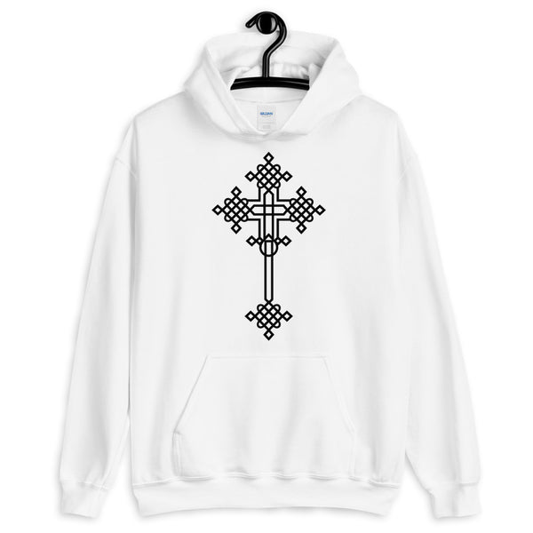 Plain Black #13 Cross Unisex Hoodie Abyssinian Kiosk Ethiopian Coptic Orthodox Tewahedo Christian Gildan Original Art Fashion Cotton Apparel Clothing