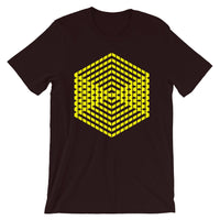 Yellow Cube Illusion Unisex T-Shirt Abyssinian Kiosk 3D Bars Polygon Fashion Cotton Apparel Clothing Bella Canvas Original Art