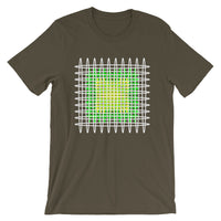 White Green Yellow Ellipses Unisex T-Shirt Abyssinian Kiosk Fashion Ellipses Inside Ellipses Cotton Apparel Clothing Bella Canvas Original Art