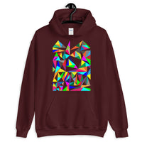 Color Triangles Unisex Hoodie Abyssinian Kiosk Falling Colorful Triangles Fashion Cotton Apparel Clothing Gildan Original Art