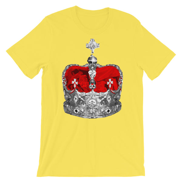 Greyscale & Red Crown Unisex T-Shirt Abyssinian Kiosk Empress Menen Crown Haile Selassie Red Velvet African Royal Royalty Fashion Cotton Apparel Clothing Bella Canvas Original Art