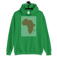 Red Africa White Grid Unisex Hoodie Abyssinian Kiosk Fashion Cotton Apparel Clothing Gildan Original Art