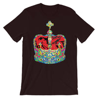 Funky Crown Red Unisex T-Shirt Abyssinian Kiosk Empress Menen Crown Haile Selassie Colors African Royal Royalty Fashion Cotton Apparel Clothing Bella Canvas Original Art