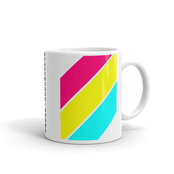 Pink Yellow Cyan Stripes  Kaffa Mug