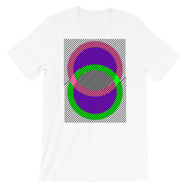 Pink Green Rings Purple Inner & Black Lines Unisex T-Shirt Abyssinian Kiosk Fashion Cotton Apparel Clothing Bella Canvas Original Art