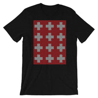 Criss Cross Red White Unisex T-Shirt Abyssinian Kiosk 12 Small Equal Arm Crosses Christian Bella Canvas Original Art Fashion Cotton Apparel Clothing