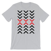 Arrows Down Up Black Red Unisex T-Shirt Abyssinian Kiosk Fashion Cotton Apparel Clothing Bella Canvas Original Art